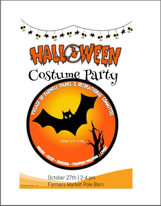 Halloween Costume Party October 27th 2pm to 4pm